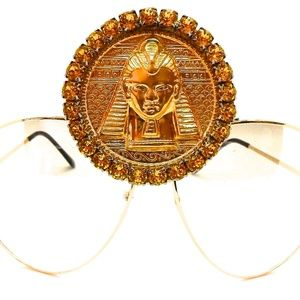 GOLD TUTANKHAMUN SUNDUST MEDALLION AVIATORS NEW